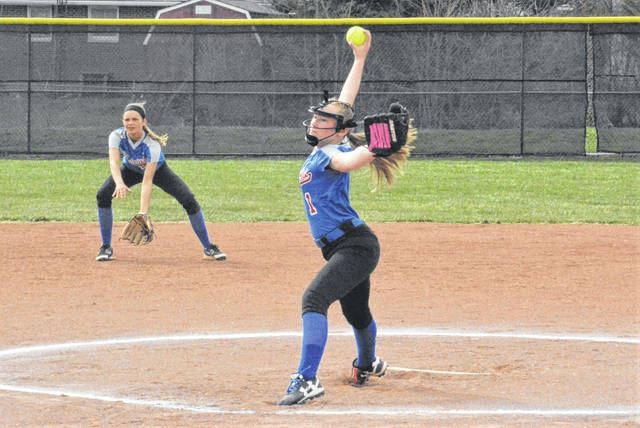 Loraligh Waters pitches for the Lady Patriots in game against the Lady Blazers.