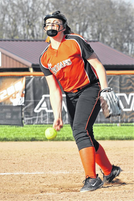Arcanum's Elle Fout tosses two innings of no-hit ball in relief for the Lady Trojans in run rule win over Ansonia.