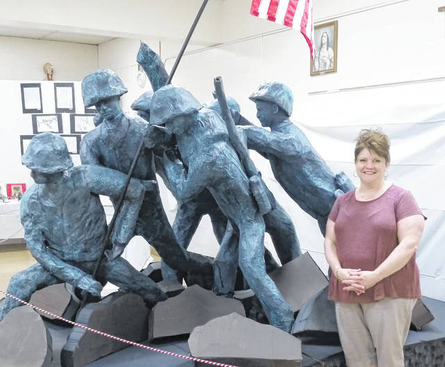 The replica of the iconic statue of Iwo Jima was completed by staff members at St. Mary's Catholic School for their annual Spring Spectacular.