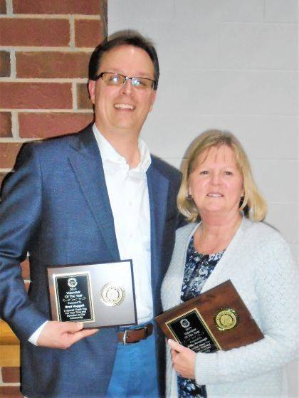 Brad Hoggatt (left) and Anita Amspaugh were awarded Male and Female Volunteer of the Year, respectively, at the Union City Chamber of Commerce Banquet.