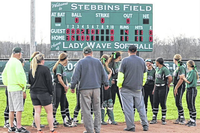 Lady Wave check out the scoreboard following sweep of theTippecanoe Lady Red Devils.