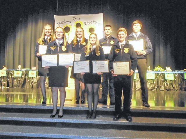 Proficiency awards winners were (back row, l-r) Kylee Winner, Kenzie Singer, Blake Thomas, Isaac Barga, (front row, l-r) Carrie Rhoades, Kaydee Campbell and Andrew Thornhill.
