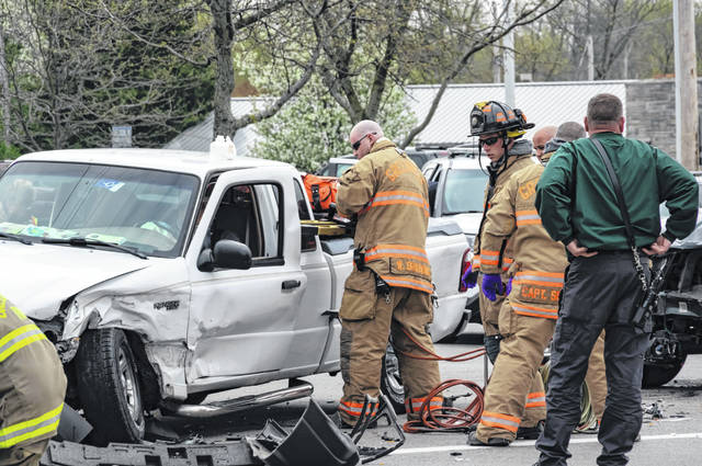 Emergency personnel were called to the scene of a two-vehicle accident in Greenville on Tuesday afternoon,