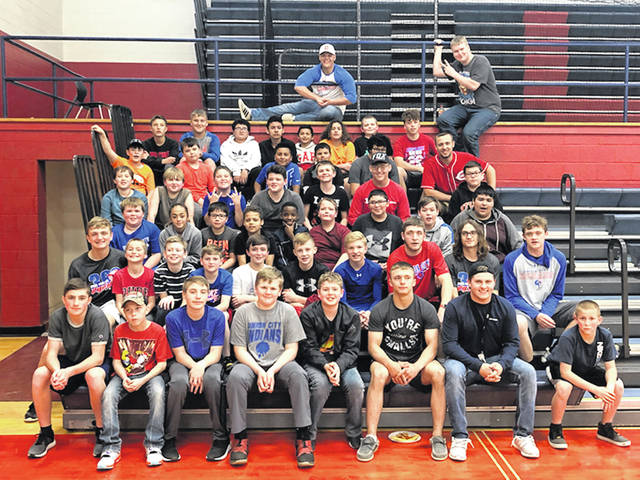 Shown are the present and future Union City Indians football players at the lock-in.