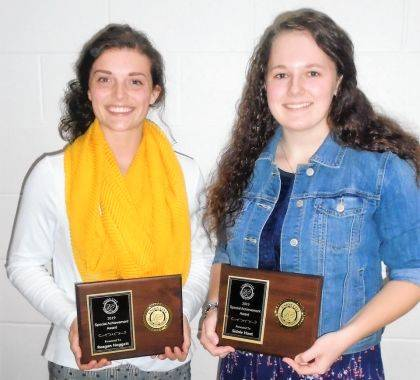 """<p class=""""body"""">Reagan Hoggatt (left) and Sidnie Hunt were the recipients of Special Achievement awards at the Union City Chamber banquet and awards program this year."""