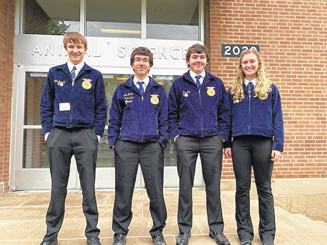 The Versailles FFA third place State FFA General Livestock Team included Kobe Epperly, Ian Gehret, Troy May and Emma Peters.