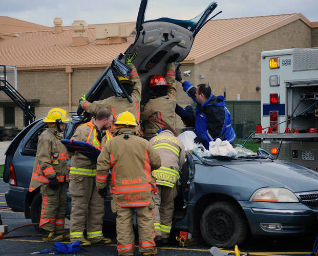 Premier Health's CareFlight Air and Mobile Services hosted a Drive Smart program at Arcanum High School.