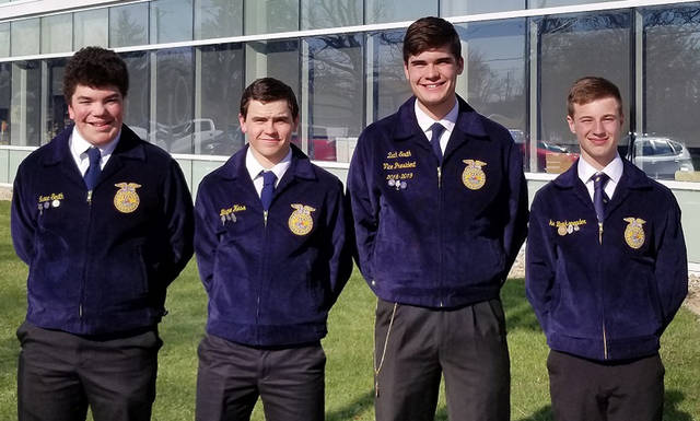 Members of the Arcanum MVCTC FFA grain merchandising team who competed in the state finals were (l-r) Isaac Smith, Blayne Hess, Zach Smith and Luke Brinksneader.