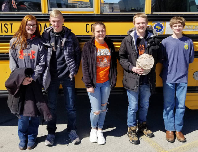 Members of the Arcanum MVCTC FFA who competed in the wildlife management contest were (l-r) Maggie Weiss, Josh Wright, Regan Weaver, Preston Gibson and Cole Besecker.