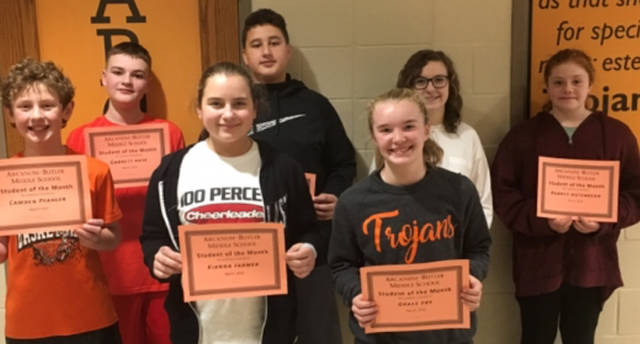 Arcanum-Butler Middle School announced its March Students of the Month. Pictured are (front row) Camden Pfahler, Kianna Farmer, Grace Fry, (back row) Garrett Rose, Dylan Dillman, Olivia Shaffer and Aubrey Hutchinson. Not pictured is Nick Sharritts.