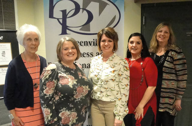 Greenville Business & Professional Women's Club hosted a meeting on April 11. Pictured (l-r) are BPW Membership Committee member Kathy O'Dell, speaker Tammy Dietrich and members Sonya Crist, Kacey Christian and Susan Shields. Not pictured is Holly Lovely.