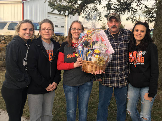 STAR 88.3 surprised the Huber family with a basket of love and encouragement, including a $50 gift card from The Inn at Versailles, along with $1,000 in community donations.