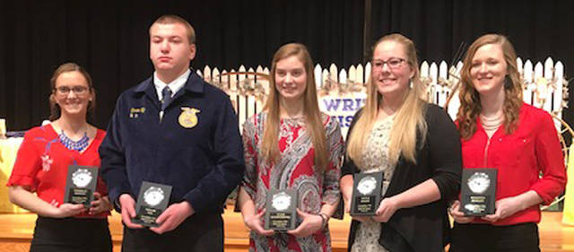 Past Versailles FFA members who were elected into the Hall of Fame included (l-r) Danielle Hesson, Taylor Tyo (represented by Taran Tyo), Clair Schmitmeyer, Kayla Bruns, Mikayla Berger and absent Maggie Hedrick.