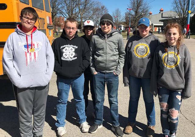 The Versailles FFA middle school first place state wildlife team included (l-r) Kristopher Marshal, Austin Spradlin, Elijah Grillot, Gabe Marchal, Hayley Smith and Kylee Hainline.