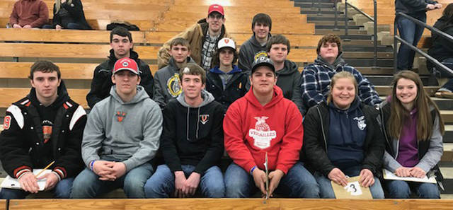 The Versailles FFA dairy judging team placed second in the State FFA Dairy Judging Preliminary Contest. Participants included (back row, l-r)) Caden Buschur, Clay Bergman, (middle row, l-r) Garrett Toops, Kane Epperly, Xavier Grillot, Evan Clark, Elliot George, (front row, l-r) Tyler Henry, Noah Gilmore, Peyton Niekamp, Austin Nerderman, Shelbie Schmitmeyer and Renea Schmitmeyer.