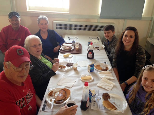 Families enjoying their breakfast during the Union City Lions Club's Spring Pancake Day.