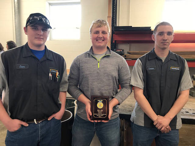 The members of the Versailles FFA outdoor power team placed second at the district contest and will advance to the state. Members included (l-r) Sam Gilmore, Dallas Hess an Isaac Gilmore.
