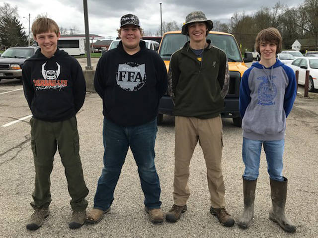 The Versailles FFA competed at the state Environmental and Natural Resources competition and placed third overall. Members of the wildlife team who competed were (l-r) Caleb Kaiser, Evan Keller, Alex Kaiser and Jayden Groff.