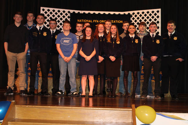 Bradford FFA members (l-r) Wyatt Spangler, Larkin Painter, Jay Roberts, Keaton Mead, Devin Carine, Kyle Kissinger, Dane Shelton, Abby Fike, Nylani Beireis, Taven Leach, Alexis Barhorst, Tevin Felver, Mercedes Smith, Joey Brussell, Aidan Beachler and Justin Bryan are pictured at the group's banquet.