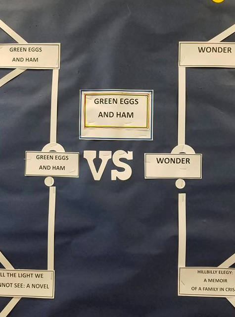 "Arcanum Public Library ran a book bracket for March Madness with patrons voting each week. Dr. Seuss's ""Green Eggs & Ham"" beat out 63 other books to claim the title of ""The book I would most like to read."""