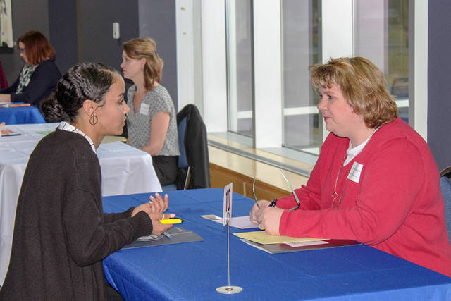Edison State Business Management Student Khalia Free is interviewed by DAP Products, Inc. human resource manager and Edison State alumna Betsy Frappier.