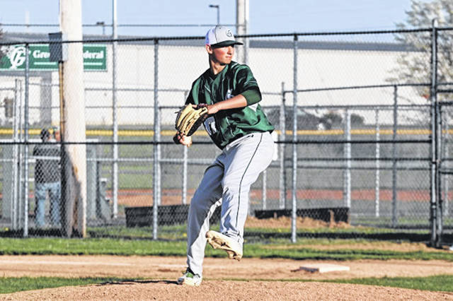 GHS freshman Warren Hartzell goes the distance throwing a 1-hitter over the visiting Piqua Indians to lead the Wave to a 5-2 GWOC win.