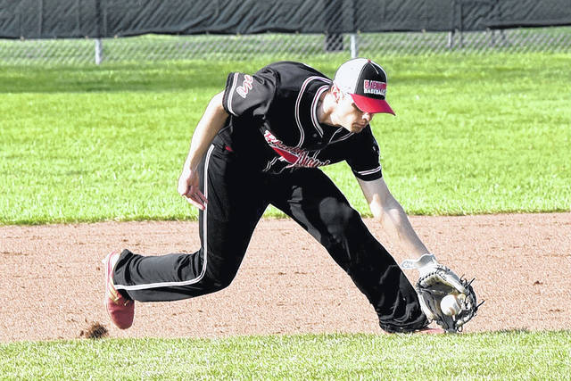 Ethan Dirksen makes a play at third for the Blackhawks in a win over Bradford.