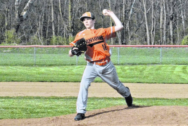 Connor Schmit pitches for the Ansonia Tigers baseball team in a game at Tri-County North.