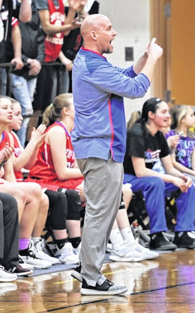 Tri-Village Lady Patriots varsity basketball coach Brad Gray.