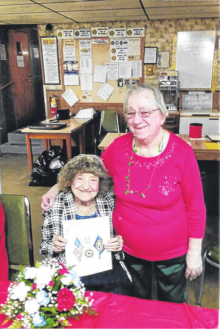 Twila Carter reached 65 years of membership with Unit No. 245 American Legion Auxiliary. She is pictured with Dorothy Shively.