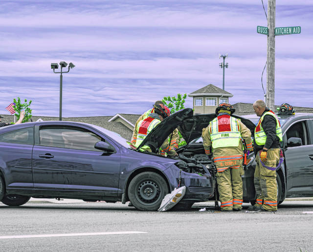 A near head-on crash resulted in one injury Tuesday afternoon at the intersection of Russ and Kitchen Aid Way in Greenville.