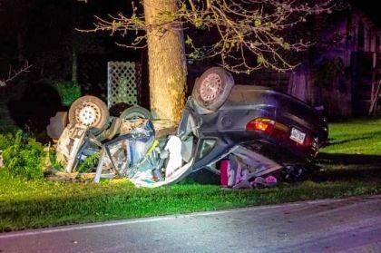 Three people were injured with two CareFlighted and one taken to Wayne HealthCare after a rollover near Bradford.