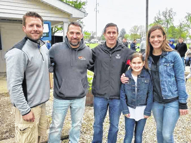 FM Junior Baseball & Softball special guests: (L-R) Kyle Cable, Eric Fee, Jeff Kniese, Mora Menzie and Jenna Powell are recognized at opening day ceremonies.
