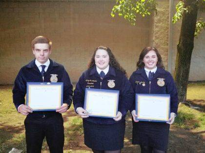 2019 Arcanum MVCTC FFA State Degree recipients are Levi Walker, Sidney McAllister, and Brenna Loxley.