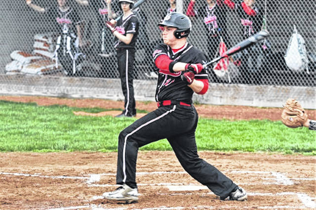 Cody Dirksen knocks one of his two hits for the Hawks in 2-0 a win over the Ansonia Tigers.