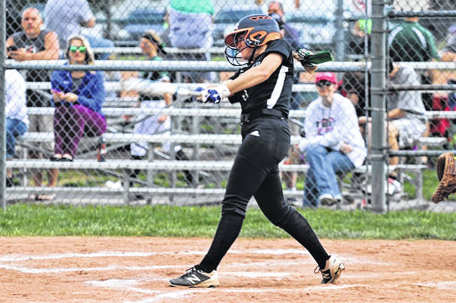 Kenna Jenkinson collects a hit for the Lady Wave eighth graders in a run rule GWOC tournament win over the Troy Lady Trojans.
