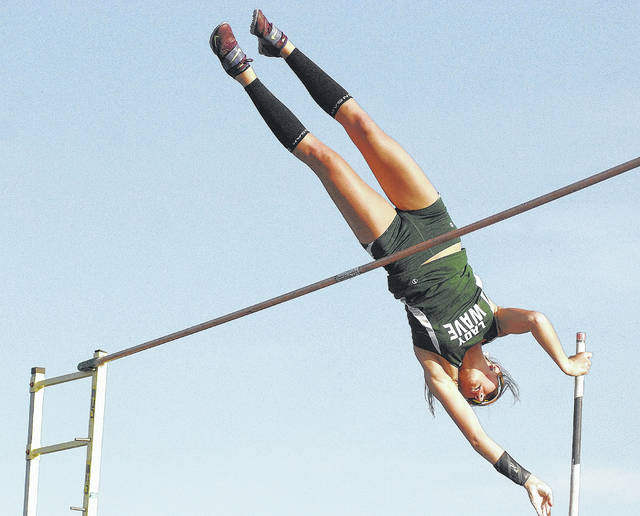 Greenville's Riley Hunt sets a new Ohio Division I pole vault record at the GWOC track and field meet in Troy.
