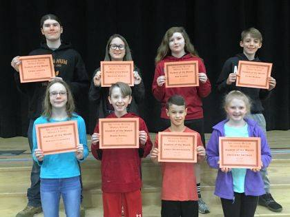 ARCANUM – Arcanum-Butler Middle School congratulates its April Students of the Month. Shown are (back row) Chase Jackson, Bayleigh Hensley, Ava Gilbert, Rylan Murray, (front row) Mercedes Eichelberger, Blake Riffell, Lance Brinksneader, and Cheyenne Swisher.