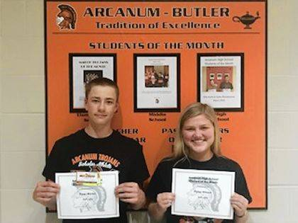 <p class=&quot;body&quot;>ARCANUM &#8211; Students of the Month for April from Arcanum High School are Ryan Martin and Rylee Wilson. Selections were made by the faculty on the basis of accountability, honesty, and service demonstrated at Arcanum High School. Ryan and Rylee were nominated because of the accountability, honor, and service that they demonstrate at AHS. Ryan was nominated because of the effort that he has demonstrated in class. He is responsible and does what is right in class. Rylee also leads through service at AHS. She is a great help to other students in class. She works to make a difference each day. The Student of the Month program is sponsored by Hot Head Burritos and McDonald&#8217;s.