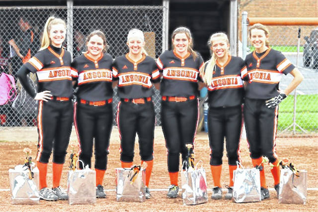 Ansonia Lady Tigers' seniors (L-R): Chelsea Noggler, Alyssa Armock, Emily Gariety, Heidi Runkel, Trinity Henderson and Kassy Wentworth before the game between the neighboring schools.