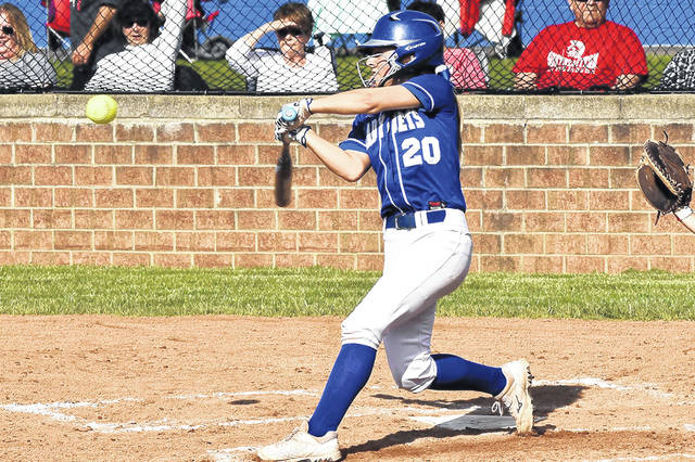 Franklin Monroe's Belle Cable bats for the Lady Jets in OHSAA tournamen game.
