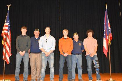 Shown are (back row) Commanders Ron Mescher American Legion 435, Tim Wagner VFW 3849, and Steve Henry Sons of the Legion 435, (front row) attendees Ryan Martin, Ethan Davis, Hunter Trump, and Michael Stammen.