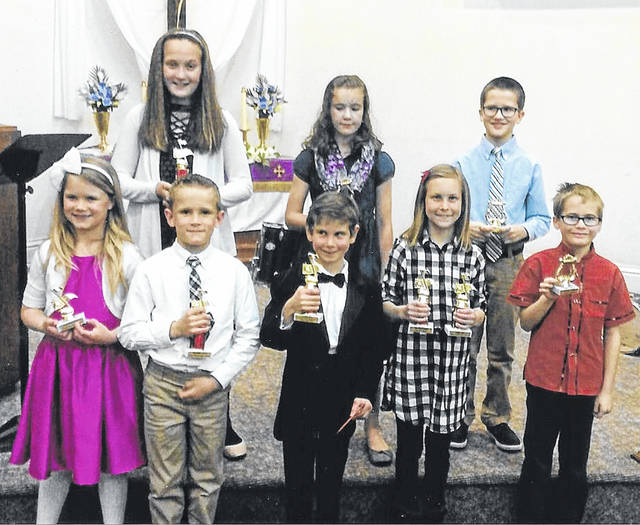 Fifth grade and under winners were (front row) Cassidy Seubert, Cade Seubert, Benjamin Buschur, Catherine Post, Zechariah McKeeth, (back row) Brooklyn Seubert, Rachel Philiposian and Evan Heitkamp.