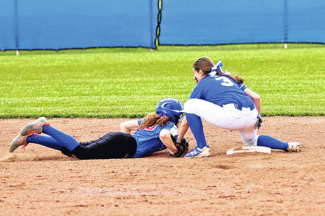 Chloe McGlinch gets the tag down to record an out for the Franklin Monroe Lady Jets in an 11-1 run rule tournament win over the Tri-Village Lady Patriots.