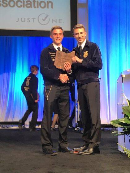 Cole Luthman was named the State Winner in the Poultry Production Proficiency Award.