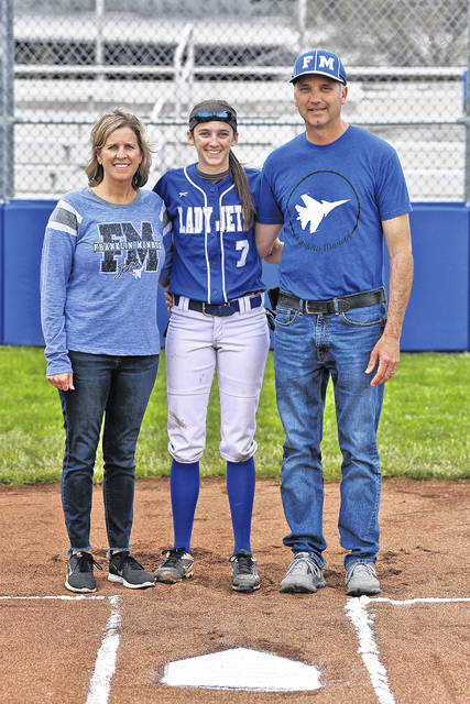 Brigette Filbrun along with her parents are honored on Senior Night prior to the Lady Jets game with Bethel