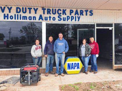 Kayla Seman, Edison State Agriculture Student, Terry Holliman, Owner of Napa-Holliman Auto Supply, Brad Lentz, Agriculture Program Director at Edison State, Casey Lentz, Volunteer, and Jen Knick, Agriculture Adjunct Instructor at Edison State.