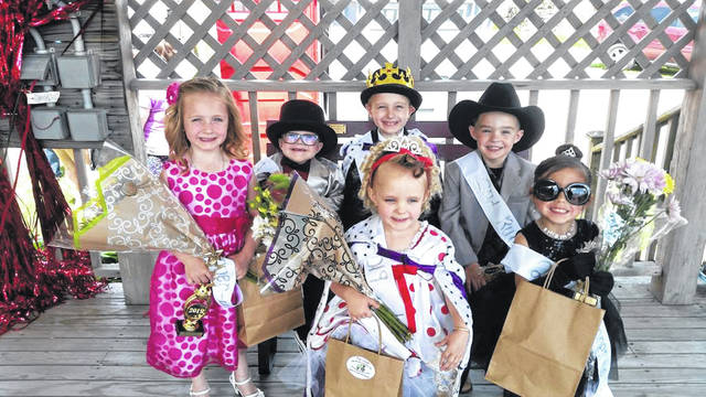 Front row, left to right, second runner-up Emryn Begin, Little Miss Yesteryear Evie Lynn Miller and first runner-up Ella Whitmer. Second row, left to right, second runner-up Isaac Rousch, Little Mister Yesteryear Kamden Tegtmeyer, and first runner-up Lucas Reinoehl. Little Mister Yesteryear Kamden Tegtmeyer and Little Miss Yesteryear Evie Lynn Miller were crowned Saturday during Arcanum's Old Fashioned Days.