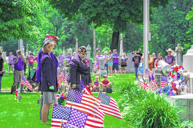 Greenville's Memorial Day service was held at Greenville-Union Cemetery and included laying wreaths at the cemetery's soldier's monument.
