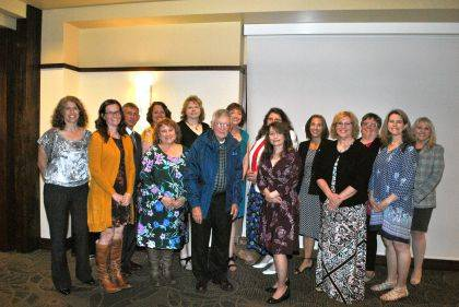 Shown are (back row) Jacqueline Dolan, Mike Deeter, Mandy Ewry, Lisa Werbrich, Lisa Hetzer, Melissa Goodall, Theresa Lingenfelter, Paula Wathen, Beth Hughes, (front row) Carmen Hartzell, Marabeth Klejna, Jerry Heckman, Donita Massing, Pam Bartley, and Amy Sugden.